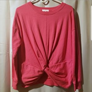 Socialite Pink faux tie pullover sweater medium